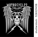 motorcycle with skull  helmet... | Shutterstock .eps vector #528329458