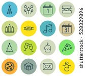 set of 16 new year icons. can... | Shutterstock .eps vector #528329896