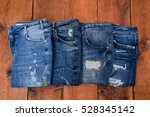 Four Blue Denim Jean Texture O...