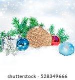 christmas background. round... | Shutterstock . vector #528349666