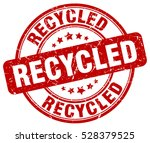 recycled. stamp. red round... | Shutterstock .eps vector #528379525