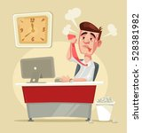 busy angry stressful office... | Shutterstock .eps vector #528381982
