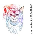 cute santa   cat in santa's red ... | Shutterstock .eps vector #528418945