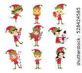 set of elves kids cartoon... | Shutterstock .eps vector #528424585