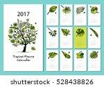 tropical tree  calendar 2017... | Shutterstock .eps vector #528438826