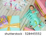 baby with christmas background. ... | Shutterstock . vector #528445552