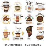 coffee time badges vector set.