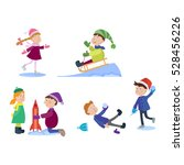 christmas kids playing winter... | Shutterstock .eps vector #528456226