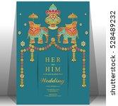 indian wedding card  elephant... | Shutterstock .eps vector #528489232