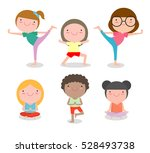kids practicing yoga   happy... | Shutterstock .eps vector #528493738