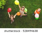 three happy little kids playing ... | Shutterstock . vector #528494638