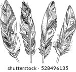 stroke feathers for coloring... | Shutterstock .eps vector #528496135