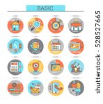vector flat icons set. basic. | Shutterstock .eps vector #528527665