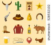 wild west cowboy icons vector... | Shutterstock .eps vector #528532102