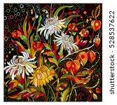 hand drawn doodle flowers... | Shutterstock .eps vector #528537622