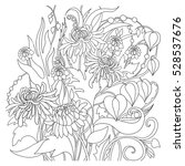 flower coloring book page.... | Shutterstock .eps vector #528537676
