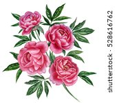 Watercolor Peony Branch. Pink...