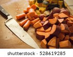 chopped root vegetables in the... | Shutterstock . vector #528619285