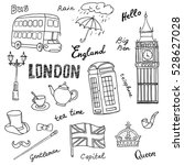 set of england symbols... | Shutterstock .eps vector #528627028