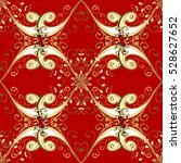 seamless vintage pattern on red ... | Shutterstock .eps vector #528627652