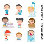 daily routines for kids  set of ... | Shutterstock .eps vector #528665026