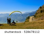 View Of A Paraglider Preparing...