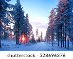 sunset in the forest with way... | Shutterstock . vector #528696376
