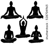 silhouettes of woman sitting... | Shutterstock .eps vector #528704965