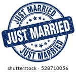 just married. stamp. blue round ... | Shutterstock .eps vector #528710056