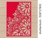 die cut card. laser cut vector... | Shutterstock .eps vector #528717832