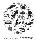 seafood icons set in round... | Shutterstock .eps vector #528717886