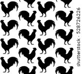 black silhouettes of rooster on ... | Shutterstock .eps vector #528726226