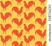 orange silhouettes of rooster... | Shutterstock .eps vector #528726232