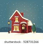 merry christmas house. cartoon... | Shutterstock .eps vector #528731266