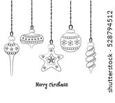 set of christmas balls on the... | Shutterstock .eps vector #528794512