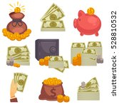paper money and money bag.... | Shutterstock .eps vector #528810532