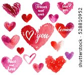 grungy red watercolor hearts... | Shutterstock .eps vector #528810952