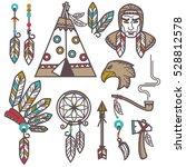 set of wild west american... | Shutterstock .eps vector #528812578