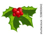 christmas holly berry leaves.... | Shutterstock .eps vector #528850042