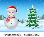 winter landscape with snowman... | Shutterstock .eps vector #528868552