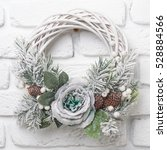 green christmas wreath with... | Shutterstock . vector #528884566