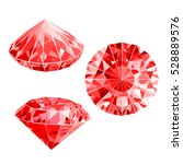 isolated handful of red rubies. ... | Shutterstock .eps vector #528889576