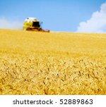 Постер, плакат: harvester in the field