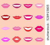 set of multicolored lips on... | Shutterstock .eps vector #528915805