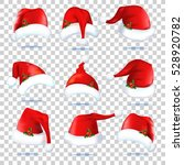collection of red santa hats.... | Shutterstock .eps vector #528920782