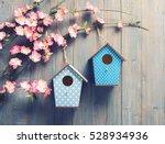 Two Birdhouses Hang On Spring...