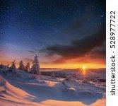 starry sky in winter snowy... | Shutterstock . vector #528977722