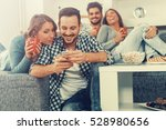 cheerful group of friends... | Shutterstock . vector #528980656