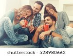 cheerful group of friends... | Shutterstock . vector #528980662