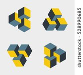 set of small penrose triangles... | Shutterstock .eps vector #528990685